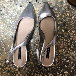Charles and Keith silver kitten block heels (size36)