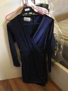 Dress velvet blue navi