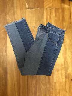 🚚 拼色牛仔褲