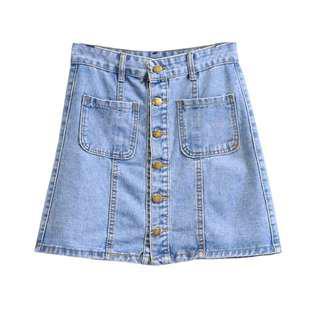 Denim Button Up A-line Skirt