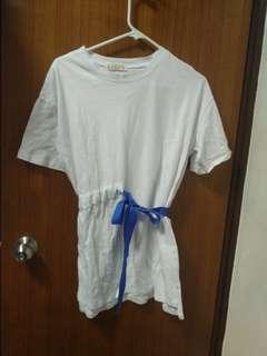 韓風藍色絲帶白色裙blue ribbon white dress