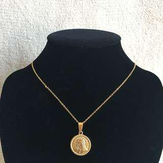 Stainless Mary Medallion Necklace Big