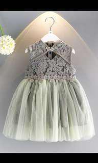 Grayish Green Cheongsam Lace Dress 2-6 years old