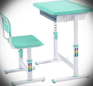 全新 安全 可調節高度兒童健康學習書枱連椅 (粉綠色)