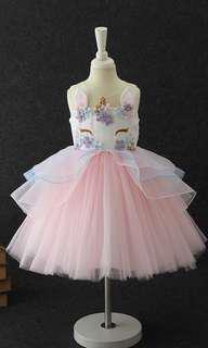 Pretty Unicorn Dress 3-10 years old