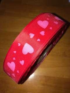紅色心心絲帶 3cm闊