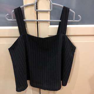 TEM Pinstripe Cropped Sleeveless Top