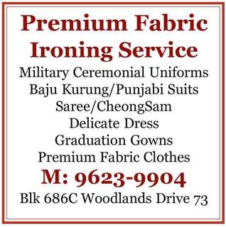 Ironing Service for Military Uniforms, Saree, Baju Kurung, Graduation Gown, Blazer, Dresses and etc. {Long Zipper Suit Covers $2.50/pc} Biz Shirts Ironing $15 for 10pcs.