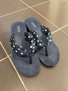Dark blue Heeled Flip flops