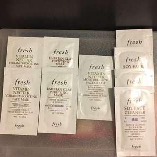 (包郵)全新法國fresh mask & cleanser travel set 9 pack