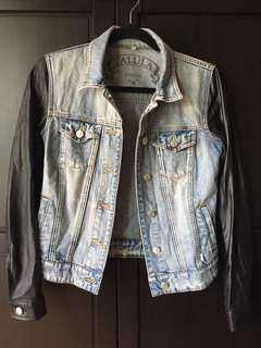 Aritzia talula denim vegan leather jacket