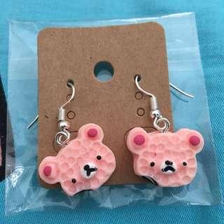 小熊蛋糕耳環