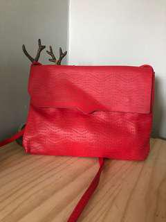 Pull & Bear Red Leather mini crossbody bag