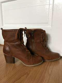 Forever 21 Brown Leather Winter and Fall Boots with Heel