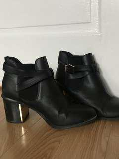 Forever 21 Black Pleather boots with medium sized heel