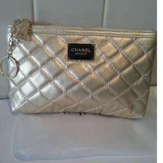 Chanel VIP Gift Gold Faux Leather Makeup Bag/Phone Case.