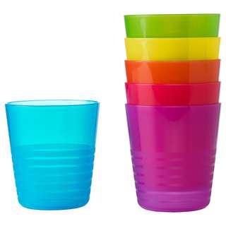 Free Shipping#6 pcs IKEA Kids Plastic Mug Assorted Colours