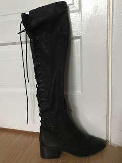 Forever 21 Black Pleather laces detail knee high boots