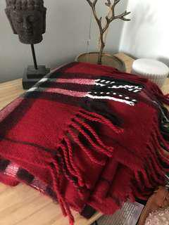 Patterned Scarf in Red Black and White