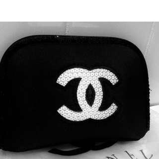 Chanel VIP Gift White Sequins Cosmetic Bag
