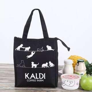 日本 kaldi coffee farm 小黑貓 手拎包 保溫包 冰包 便當包 飯盒包 保溫袋