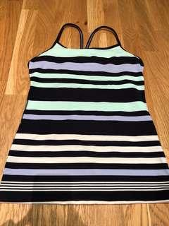 Lululemon power Y tank striped size 6