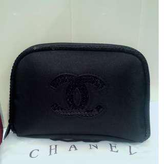 Chanel VIP Gift Black Sequins Cosmetic Bag