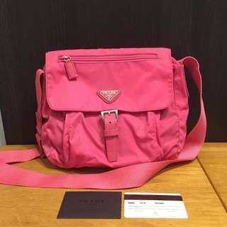 Authentic Prada Vela B8994 Peonia/ Pink Crossbody Bag