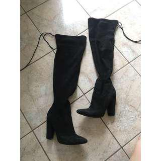 Thigh high heeled suede boots (size 6)