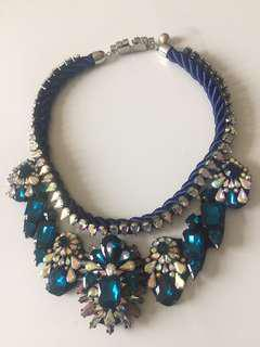 Statement rope royal blue necklace with diamantes