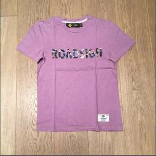 Roadsign road sign purple T-shirt with floral text