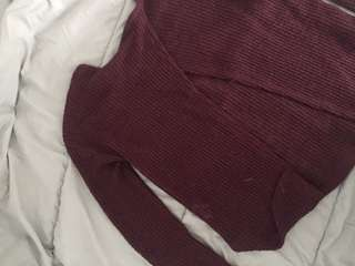 Open Back burgundy Ribbed Long Sleeve
