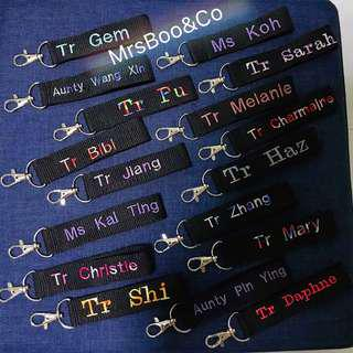 Name Keychain embroidery