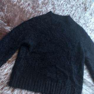 High Neck Fluffy Black Knit