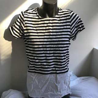 French connection stripe top double layer style