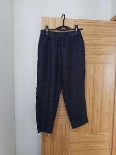 韓國新款麻質 深藍條紋長褲