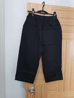 韓國新款靚料 靚靚 七分闊腳褲 深藍色橡筋腰 棉質 布料質料 實淨