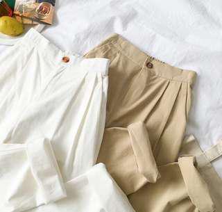 白色九分 闊褲 寬鬆 直筒褲