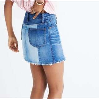 Madewell Two Tone Denim Skirt