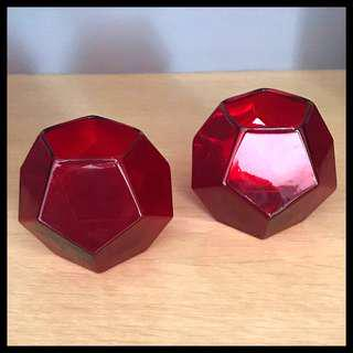 Two Crate & Barrel Red Glass Votives