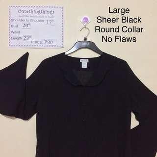 Large - Sheer Black Round Collar Long Sleeved Top
