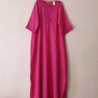 Gamis Renda / Daster Arab Renda Pink (lengan 3/4)