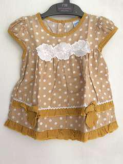 Brown Polka Baby Dress 0-3 mo