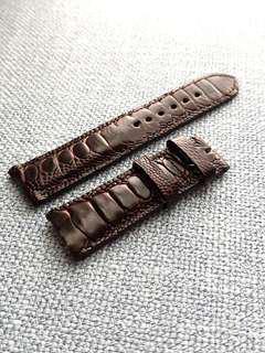 Genuine Ostrich Leg 22mm Dark Brown Watch Strap for Breitling Seiko Tudor etc