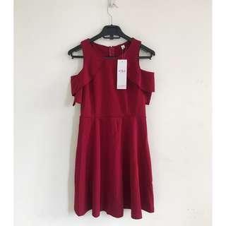 Cute Cold Shoulder Cocktail Dress (Red)