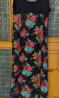 Navy and floral maxi dress - Size 12 AUD