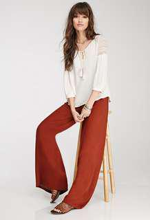 Promo A: New arrival tangerine palazzo pants wif front zipper