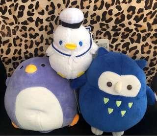 企鵝、貓頭鷹公仔三隻