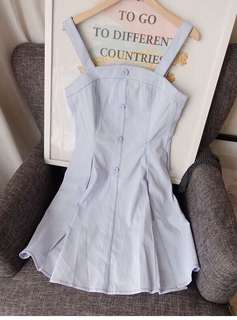 Light Baby blue light vintage dress 淺藍吊帶小清新復古裙
