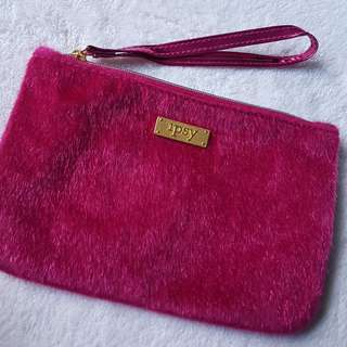 IPSY Hot Pink Faux Fur Pouch